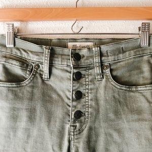 "Madewell green high rise 9"" skinny denim jeans 24"